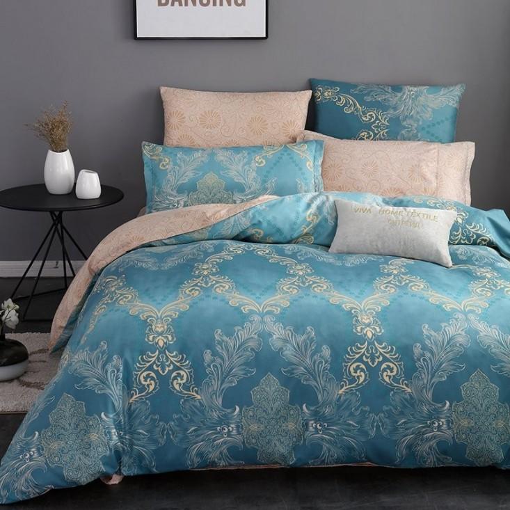 Постельное белье сатин вышивка  CN033 2 спальное СИТРЕЙД