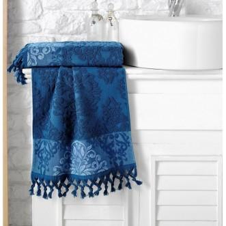 Полотенце махровое жаккард с бахромой Ottoman синее Karna