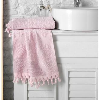 Полотенце махровое жаккард с бахромой Ottoman розовое Karna