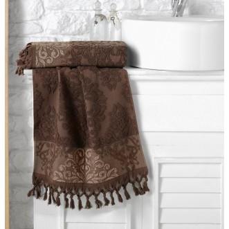 Полотенце махровое жаккард с бахромой Ottoman коричневое Karna