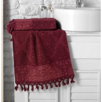 Полотенце махровое жаккард с бахромой Ottoman красное Karna