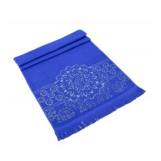 Полотенце махровое жаккард с бахромой Duru темно синее Karna