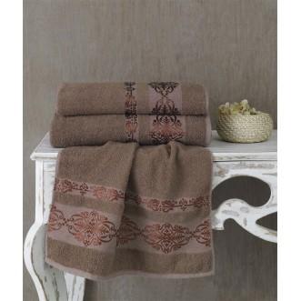 Полотенце махровое Rebeka коричневое Karna