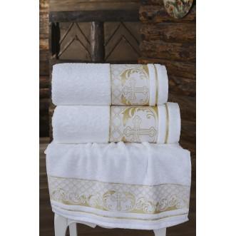 Полотенце махровое для крещения белое Karna