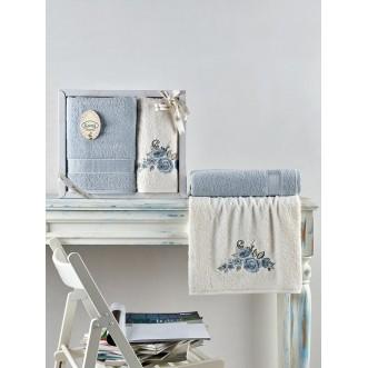Набор махровых полотенец Elvin голубой Karna