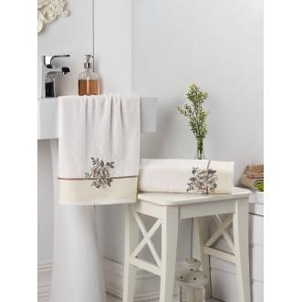 Набор махровых полотенец Florya кремовый Karna