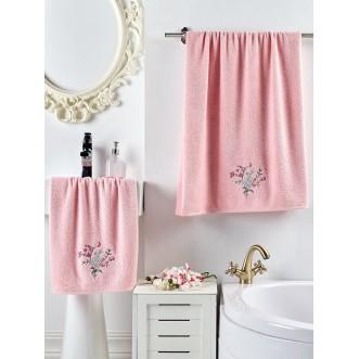 Набор махровых полотенец Violin розовый Karna