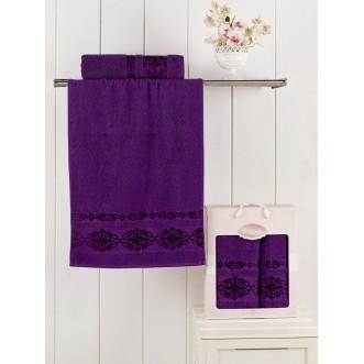 Набор махровых полотенец Rebeka фиолетовый Karna