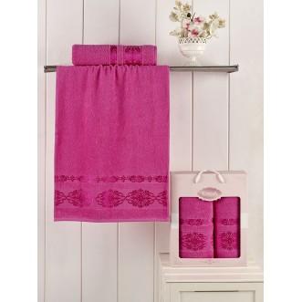 Набор махровых полотенец Rebeka розовый Karna