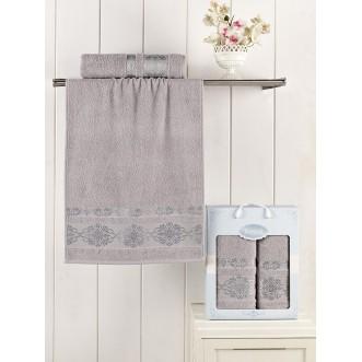 Набор махровых полотенец Rebeka серый Karna