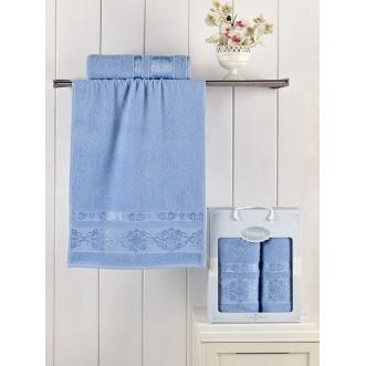 Набор махровых полотенец Rebeka голубой Karna