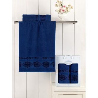 Набор махровых полотенец Rebeka синий Karna
