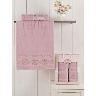 Набор махровых полотенец Rebeka серо-розовый Karna