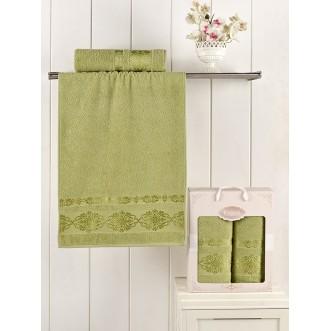 Набор махровых полотенец Rebeka зеленый Karna