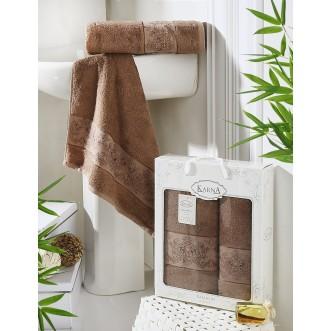Набор махровых полотенец Pandora коричневый Karna