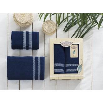 Набор махровых полотенец Petek синий Karna