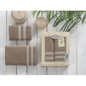 Набор махровых полотенец Petek кофейный Karna