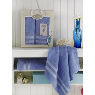 Набор махровых полотенец Petek голубой Karna