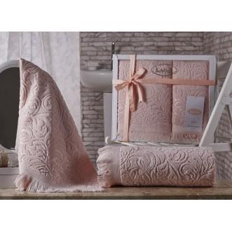 Набор махровых полотенец Esra абрикосовый Karna