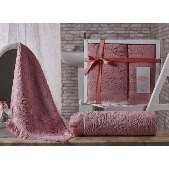 Набор махровых полотенец Esra розовый Karna