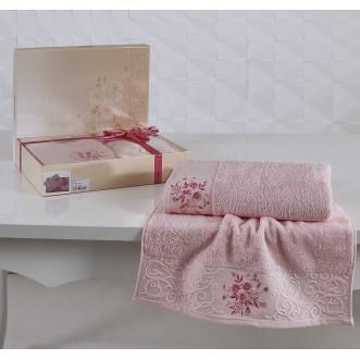 Набор махровых полотенец Viola светло розовый Karna