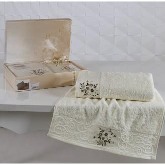 Набор махровых полотенец Viola кремовый Karna