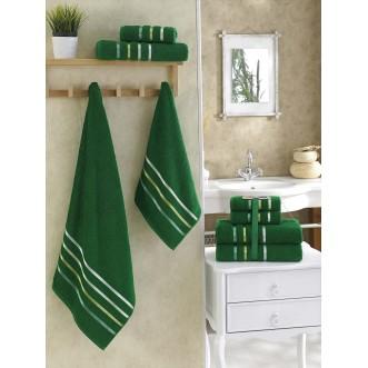 Набор махровых полотенец Bale темно зеленый Karna