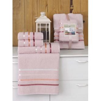 Набор махровых полотенец Bale светло розовый Karna