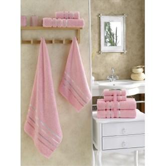 Набор махровых полотенец Bale розовый Karna