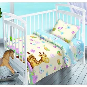 Постельное белье детское в кроватку поплин Вальтери Веселый Жирафчик