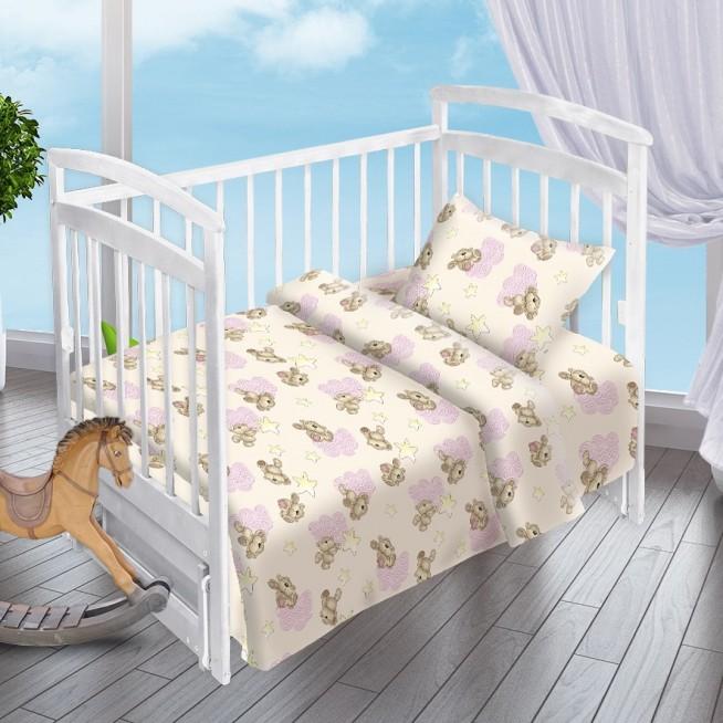 Постельное белье детское в кроватку поплин Вальтери Облачные Мишки