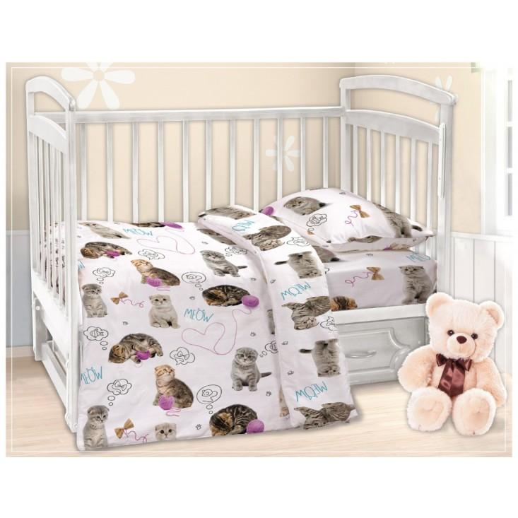 Постельное белье детское в кроватку поплин Вальтери Пушистики