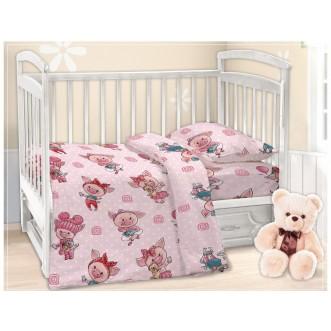 Постельное белье детское в кроватку поплин Вальтери Хрюшки
