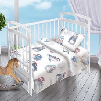 Постельное белье детское в кроватку поплин Вальтери Пингвинята