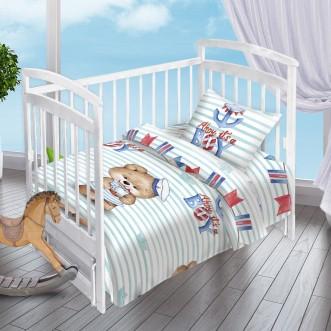 Постельное белье детское в кроватку поплин Вальтери Мишка-Морячок