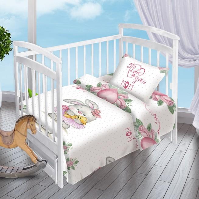 Постельное белье детское в кроватку поплин Вальтери Зайка-Балерина