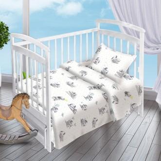 Постельное белье детское в кроватку поплин Вальтери Зайки