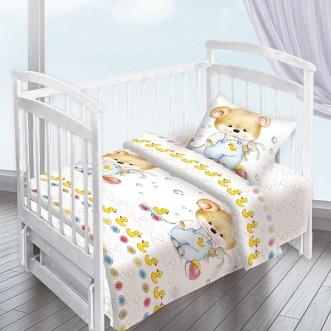Постельное белье детское в кроватку поплин Вальтери Мишка с уточкой