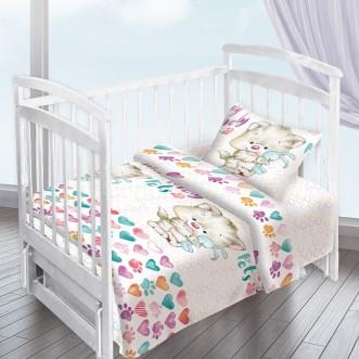 Постельное белье детское в кроватку поплин Вальтери Котенок с зайкой