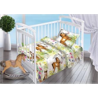 Постельное белье детское в кроватку поплин Вальтери На лугу