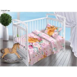 Постельное белье детское в кроватку поплин Вальтери Весенний зайка
