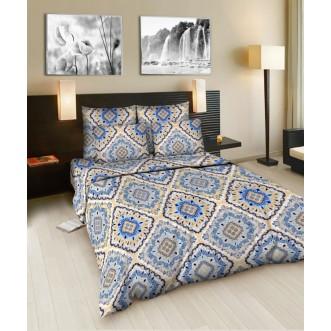 Постельное белье 2 спальное бязь Valtery Ришелье голубой