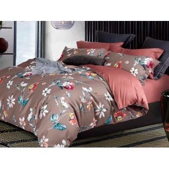 Постельное белье 1,5 спальное Люкс мако-сатин Asabella Цветы в шоколаде
