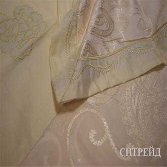 Белье постельное жаккард с вышивкой H026 2 спальное СИТРЕЙД
