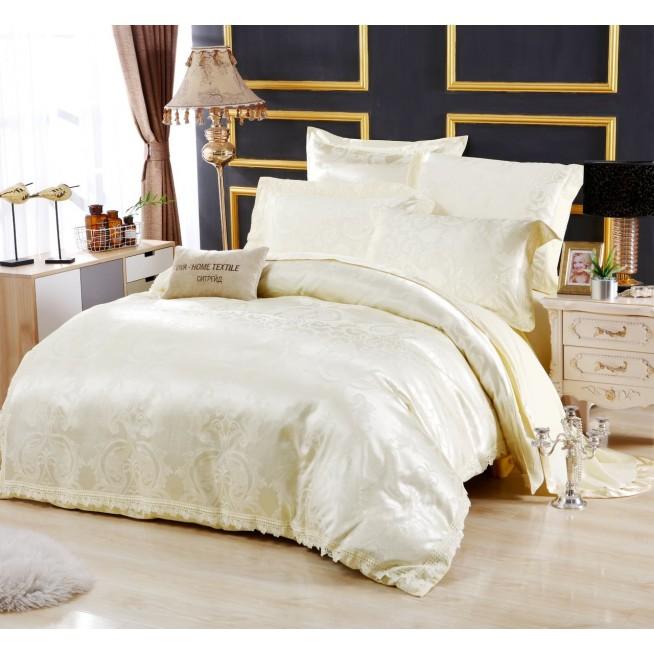 Белье постельное жаккард с вышивкой H042 2 спальное СИТРЕЙД