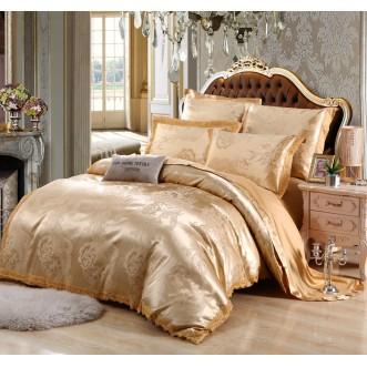 Постельное белье жаккард с вышивкой H045 2 спальное СИТРЕЙД