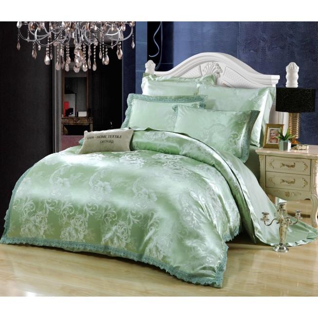 Постельное белье жаккард с вышивкой H048 2 спальное СИТРЕЙД