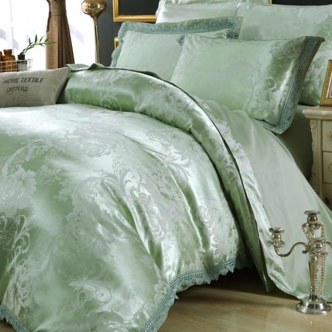 Белье постельное жаккард с вышивкой H048 2 спальное СИТРЕЙД