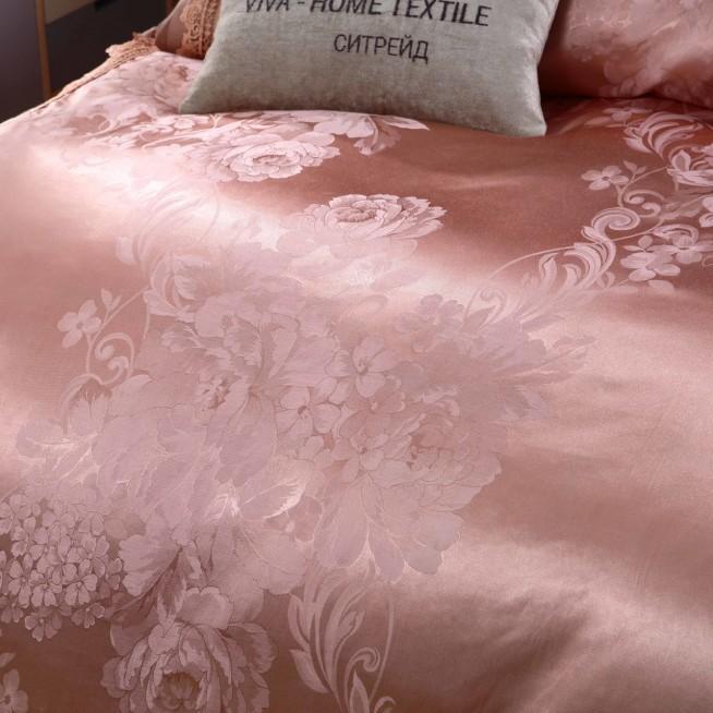 Подарочный жаккард с вышивкой белье постельное H049 2 спальное СИТРЕЙД