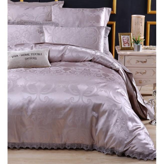 Подарочный жаккард с вышивкой белье постельное H043 Евро СИТРЕЙД